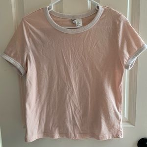 H&M pink t-shirt with white embroidered hems